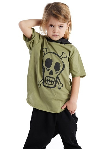 Colorinas Mask Hoody Baskılı T-Shirt Haki